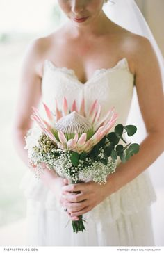 A timeless piece, a protea bouquet! | Photographer: Bright Girl Photography | Dress: Abigail Betz | Flowers & Decor: Natural Nostalgia