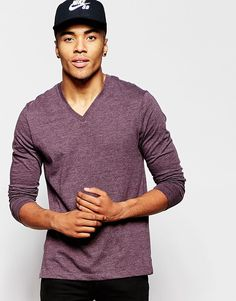 ASOS Long Sleeve T-Shirt In Red With V Neck