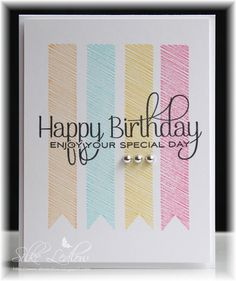 Use removable tape or thick paper to create outline and color in banners Happy Birthday Cards Handmade, Creative Birthday Cards, Creative Cards, Birthday Doodle, Birthday Card Drawing, Karten Diy, Bday Cards, Cool Cards, Homemade Cards
