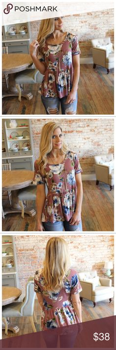 """Mauve floral print babydoll tunic Modeling size small  95% Rayon 5% Spandex  BUST: S-18"""", M-19"""", L-20"""".  LENGTH: S-27"""", M-28"""", L-29"""".  IRPD11070202.2681P Infinity Raine Tops"""