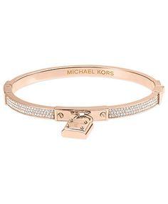 Michael Kors Bracelet, Rose Gold-Tone Padlock Charm Bracelet