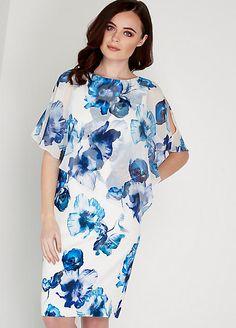 Roman Originals Women/'s Ivory Floral Chiffon Overlay Scuba Dress Sizes 10-20