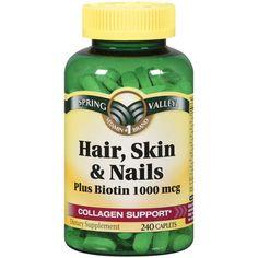 Hair and Nail Growth Vitamins Awesome Spring Valley Hair Skin & Nails Plus Biotin Dietary Nail Growth, Hair Growth Tips, Biotin Hair Growth, Spring Valley Hair Skin And Nails, Biotin And Collagen Shampoo, Hair And Nails Vitamins, Nails Plus, How To Grow Eyelashes, Hair Shampoo