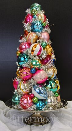 Vintage Glass Christmas Bulbs in the shape of a tree