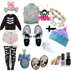 Pastel Goth/Hipster Goth.. dont like the barbie jacket though.
