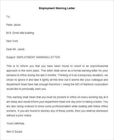 Sample warning letter warning letter to employee for poor fax cover sheet sample thank you letter after interview letter of . Formal Letter Template, A Formal Letter, Letter Template Word, Business Letter Template, Reference Letter Template, Cover Letter Sample, Cover Letters, Letter Of Employment Template, Proposal Writing
