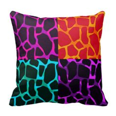 Fun and funky multicolor block animal print throw pillow from zazzle
