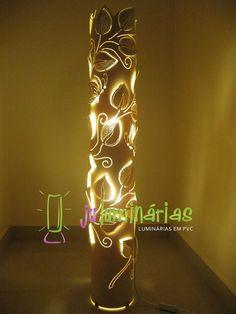Ju Luminárias - Luminárias em PVC: Luminária em PVC - Folhagem trepadeira em tubo de 150mm