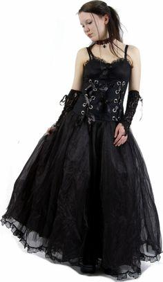 Schwarzes Gothic Kleid mit Doppelschnürung