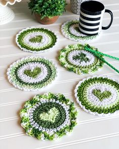 Pretty green crochet coasters with hearts and shamrocks. Cotton yarn is always my first choice! Crochet Kitchen, Crochet Home, Crochet Crafts, Crochet Doilies, Yarn Crafts, Free Crochet, Knit Crochet, Irish Crochet Patterns, Crochet Coaster Pattern