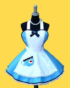 "Costume Apron - Apron "" Tea Party "" Womens Apron 50s retro diner apron MADE TO ORDER"