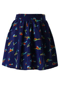 Birds Print Chiffon Skirt