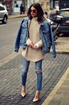 Look com Trico e jaqueta jeans