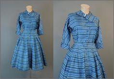 1950s Blue & Green Striped Shirtwaist Dress by dandelionvintage