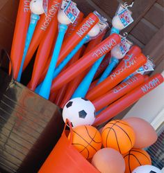Personalized bats would make a fun party favor.  Stick on letters, plastic bats.