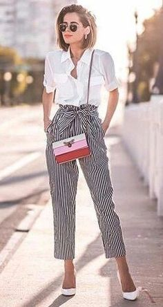 60 Comfortable Yet Stylish Summer Outfits The High Waist Clochard Striped Pants With belts white buttondownshirt 038 heels summerstyle Mode Outfits, Chic Outfits, Fashion Outfits, Heels Outfits, White Heels Outfit, Dress Fashion, Fashion Pants, Fashion News, Fashion Trends