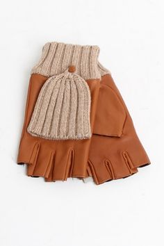 leather + knit pop top glove
