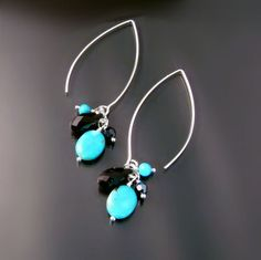 fun silver dangle earrings with turquoise