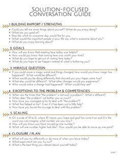 Solution focused conversation guide