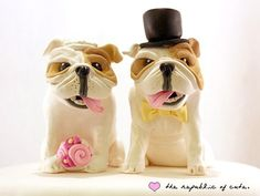 Wedding Cake Toppers - Quirky bride and groom dog cake toppers #Wedding #Cake #Topper #Bridal