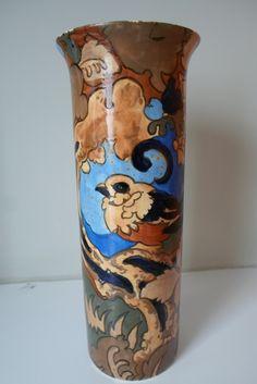 Frederick Rhead Bursley Ware Large Amstel Tall Vase Pottery Painting, Pottery Art, Tall Vases, Charlotte, University, Paintings, City, Blue, Ideas