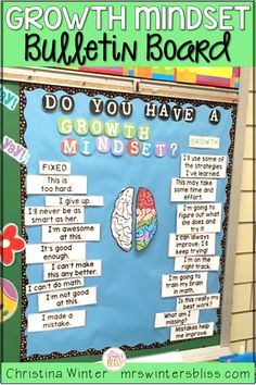 Growth mindset bulletin board your students will love! Brighten up your class room with this bulletin board idea! #growthmindsetlessons #growthmindsetactivities #teachinggrowthmindset