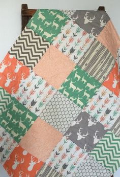 Baby Girl Quilt, Patchwork, Southwest, Arizona, Deer, Stag, Chevron, Bow and Arrow, Navy, Mint, Coral, Crib Bedding, Baby Bedding, Children