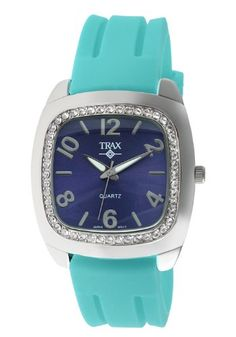 Trax Women's TR1740-NTQ Malibu Fun Turquoise Rubber Blue Dial Crystal Watch - Jewelry For Her