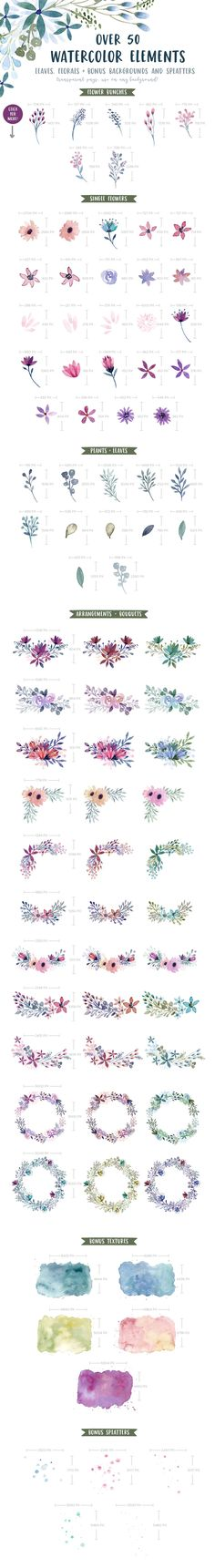 Watercolor Leaves and Florals Kit - useful for wedding invitations, garden party invites, and other flower decoration needs.
