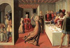 """Беноццио Гоццоли """"Танец Саломеи"""" (1472г.). Пред нами смешение частей истории, можно сказать ее конспект: тут и Саломея танцует, и над Иоанном уже замахнулись, а на заднем плане еще одна фигурка Саломеи предъявляет матери трофей. Реализм тогда еще не был в цене."""
