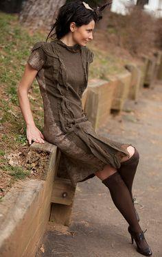 handmade Taupe dress by irenalevkovich on Etsy, $600.00