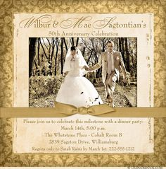This sweet 50th anniversary photo invitation surrounds your personalized text with elegant cream & golden damask! An optional ribbon-like graphic adds a dramatic touch to accent your 1-2 optional photos.