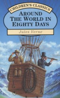 """""""Around the World in Eighty Days"""" is a classic adventure novel written by Jules Verne.    The story starts in London. Phileas Fogg, a rich English gentleman, accepts a bet in his club. He bets that he could travel around the world in eighty days. So he and his servant take off."""