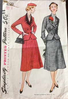 Simplicity 4020 1950s Misses Double Breasted Jacket and Flared Skirt womens vintage sewing pattern by mbchills
