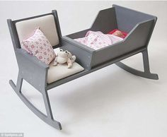 This rocking chair and crib combination is the perfect piece of furniture for any nursery