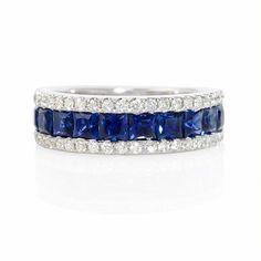 Diamond and Blue Princess Cut Sapphire 18k White Gold Ring