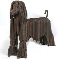 Bicycle Chain Dog Sculptures by Nirit Levav recycled art - metal art - Afghan dog from assorted bicycle chains.