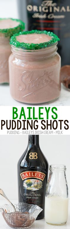Baileys Pudding Shots - these easy three ingredient cocktails are perfect for St. Patricks Day...or any day you want Irish Cream! They can be made for kids too!