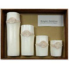 SOLEIL-D-OCRE -  SOLEIL-D-OCRE Coffret 4 bougies BAMBOU c./ naturel