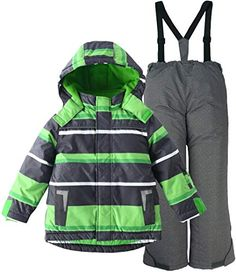 Free Country Big Boys Color-Block Snowboard Winter Coat Pop Green//Medium 10//12 Gray Free Country Boys 8-20