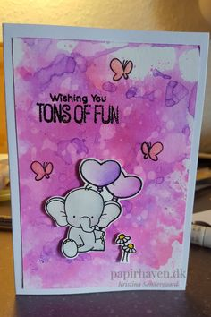 Card with 'adorable elephants' stamp from 'My favourite things'. Painted with 'Zig real color brush markers'