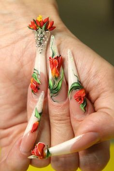 "This set is so pretty. I love the ""flower vase"" So unique and different from any nail art I have ever seen."