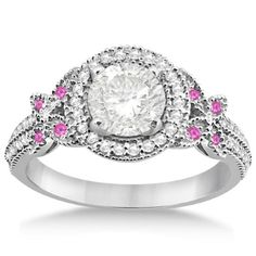 Diamond & Pink Sapphire Butterfly Engagement Ring Platinum (0.35ct), Women's, Size: 6.5, Silver