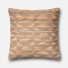 Beige and Coral 22-Inch Pillow with Down Insert