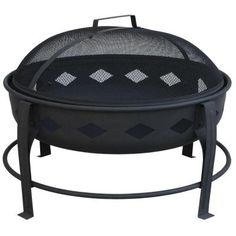 LANDMANN Bromley 24 in. Diamond Steel Fire Pit in Black-21860 - The Home Depot