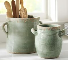 Rustic Cucina Crocks - Blue | Pottery Barn #DeltaFaucetInspired