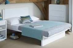 Designer white double bed with a fresh clean look White Double Bed, Double Beds, Marlow White, Fresh And Clean, Natural Wood, Furniture Design, Living Room, Bedroom, Modern