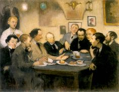 """Alfons Karpiński (1875 - 1961), """"Portret malarzy w Jamie Michalikowej""""   Ok. 1905,"""
