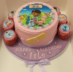Girls Doc McStuffins Cake and Cupcakes Doc Mcstuffins Cupcakes, Doc Mcstuffins Birthday Cake, Cupcake Birthday Cake, Cupcake Cakes, Fun Baking Recipes, Character Cakes, Disney Cakes, Occasion Cakes, Girl Cakes