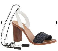 Raffia Ankle-Tie High-Heel Sandals in black   J. Crew
